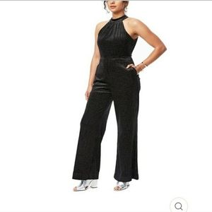 Lost + Wander Black Velvet Gold Tie Back Jumpsuit